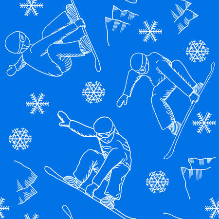 vector illustration of a seamless snowboarder pattern