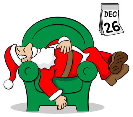 vector illustration of santa claus after work