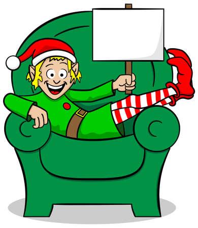 vector illustration of a christmas elf on strike at christmas Vector