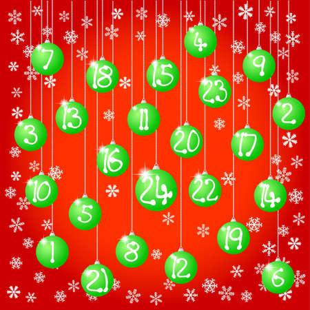 advent calendar: vector illustration of an advent calendar with christmas balls