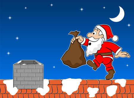 vector illustration of santa claus on the rooftop Ilustracja