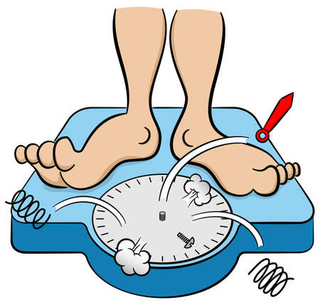 diet cartoon: vector illustration of a bathroom scale collapses under weight