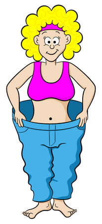 vector illustration of a woman in a large pants after diet