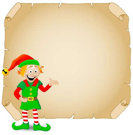 cartoon elfe: Vektor-Illustration eines Weihnachtself und altes Pergament