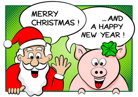 vector illustration of santa claus and lucky pig with speech bubbles merry christmas and a happy new year  Vector