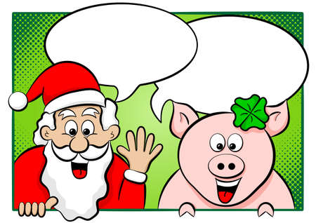 vector illustration of santa claus and lucky pig with speech bubbles Vector
