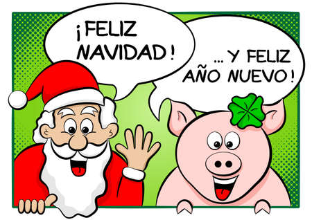 vector illustration of santa claus and lucky pig with speech bubbles merry christmas and a happy new year in spanish Vector