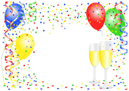 streamer: vector illustration of a party background with balloons