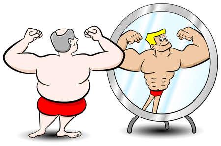 거울을 다르게 자신을 보는 뚱뚱한 남자의 벡터 일러스트 레이 션 일러스트