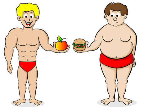 vector illustration of a fat and a fit man and their diet
