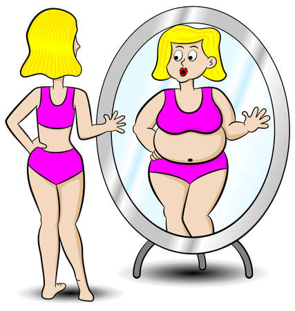 fat to thin: vector illustration of a thick thin woman looks in the mirror