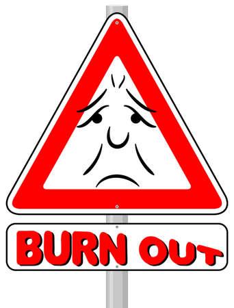 burn out: vector illustratie van een burnout waarschuwingsbord
