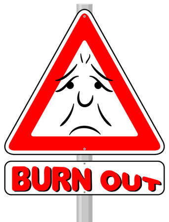 vector illustration of a burnout warning sign