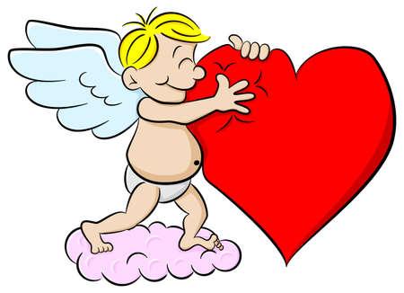 eros: vector illustration of a cupid hugging a heart Illustration