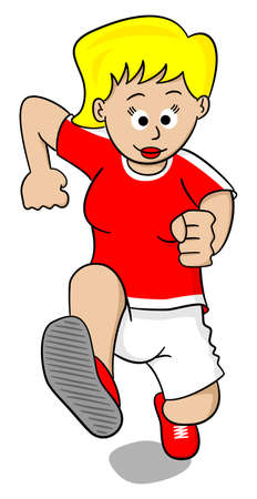 running race: vector illustration of a running woman on white background