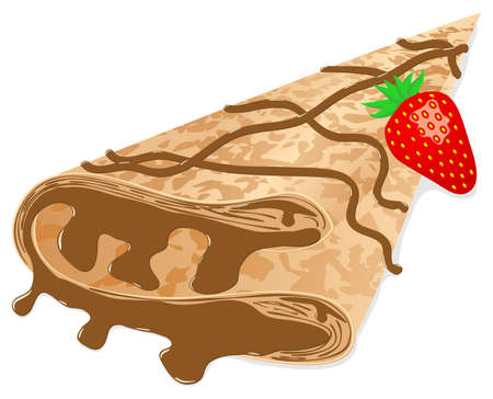 panqueques: ilustración vectorial de un crepe (panqueques) con chocolate y fresa aislados en blanco