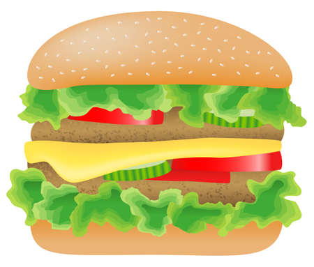 sandwich white background: vector illustration of a hamburger with meat, lettuce, cucumber,cheese and tomato