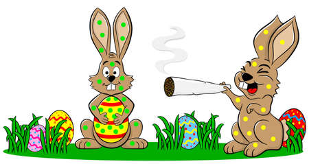 hallucination: Illustration of easter bunnies who smoke too much