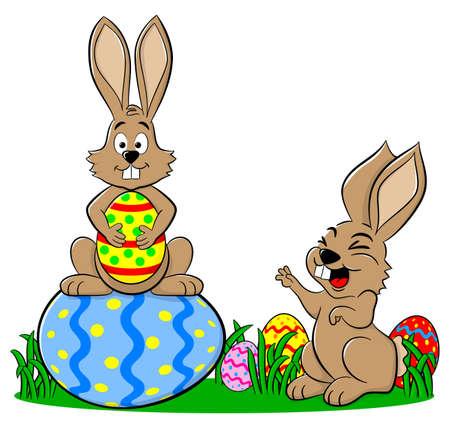 Ilustración vectorial de conejos de Pascua de huevos de Pascua en el fondo blanco Foto de archivo - 25630442