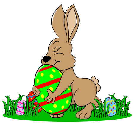 vector illustration of a easter bunny who loves his egg