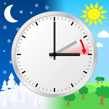 vector illustratie van een klok te schakelen naar zomertijd