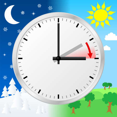 vector illustration of a clock switch to summer time