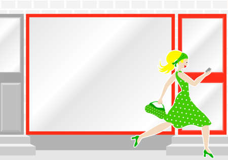 shopwindow: vector illustration of a woman passes by a shop window Illustration