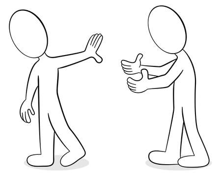 controversy: vector illustration of two people are of different opinion Illustration
