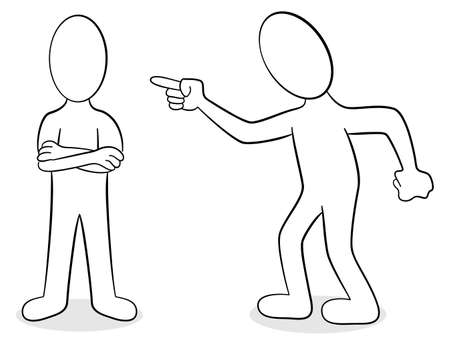 argumentation: vector illustration of two people are of different opinion Illustration