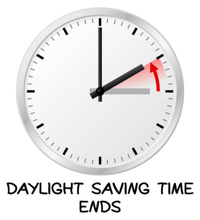 vector illustration of a clock return to standard timedaylight saving time ends