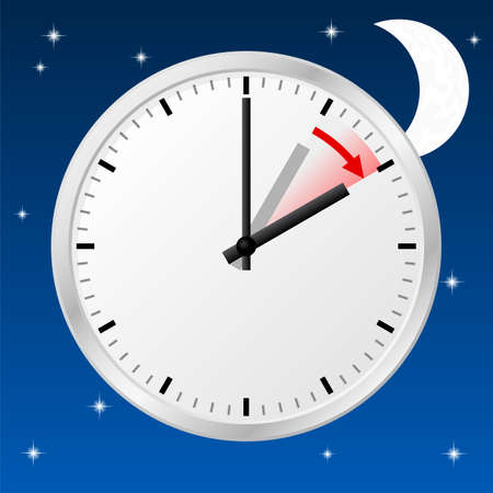 time change: vector illustration of a clock switch to summer time