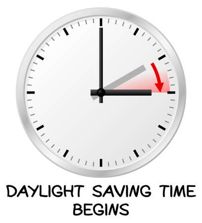 winter time: vector illustration of a clock switch to summer time  daylight saving time begins Illustration