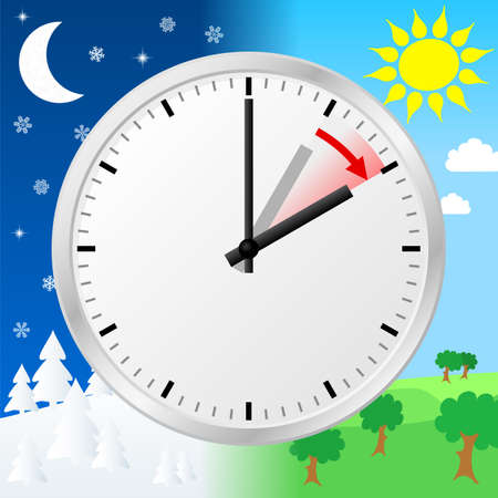 daylight: vector illustration of a clock switch to summer time