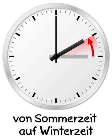 vector illustration of a clock return to standard time german: von Sommerzeit auf Winterzeit = daylight saving time ends