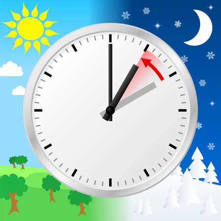vector illustration of a clock return to standard time