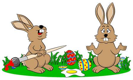 fell: vector illustration of easter bunnies and an egg fell down Illustration