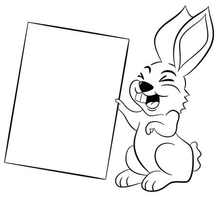 vector illustration of an easter bunny holding a sign in hand Vector