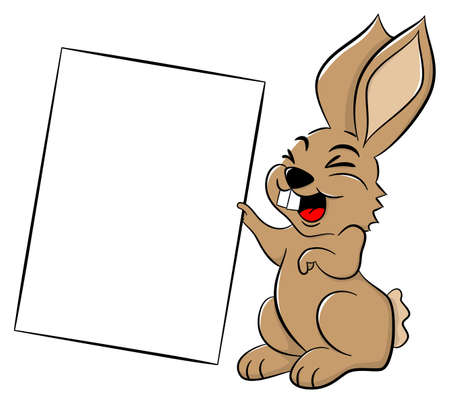 vector illustration of an easter bunny holding a sign in hand