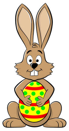 easter bunny: vector illustration of an easter bunny with easter egg Illustration