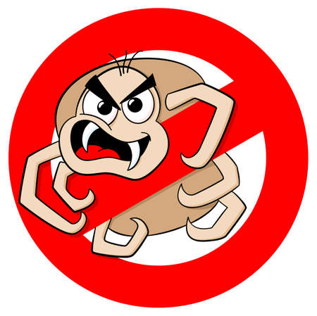 vector illustration of a no ticks cartoon warning sign