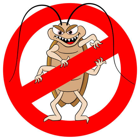 roach: vector illustration of a cockroache warning sign
