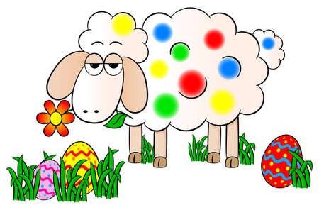 pasen schaap: vector illustratie van een kleurrijk beschilderde easter lam