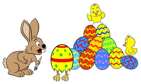 изумление: векторная иллюстрация Пасха Банни находит работает пасхальное яйцо