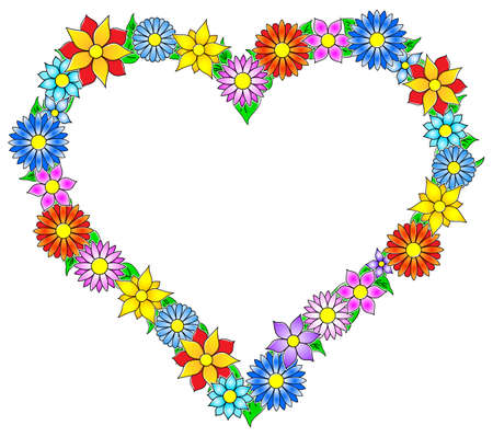 vector illustration of a colorful flower border heart Vector