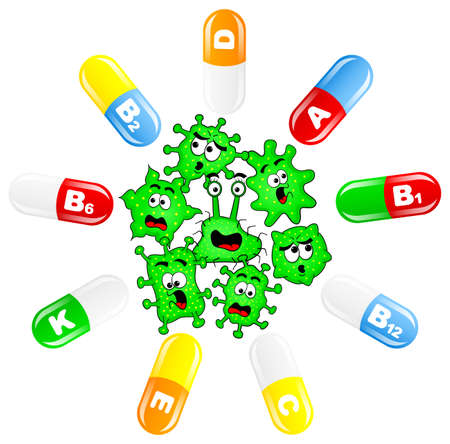 contagious: vector illustration of viruses attacked by vitamins