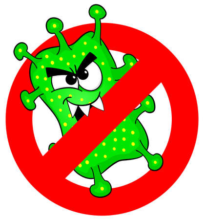 bacteriological: vector illustration of viruses are not permitted sign Illustration