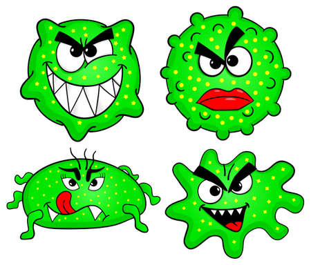 bacteriological: vector illustration of some wild cartoon viruses