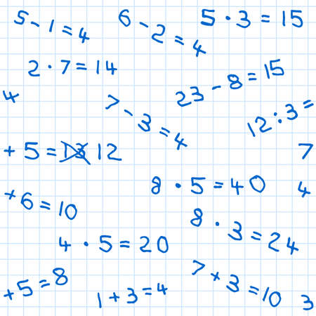 vector illustration of a seamless pattern of mathematics homework on checkered paper Vector