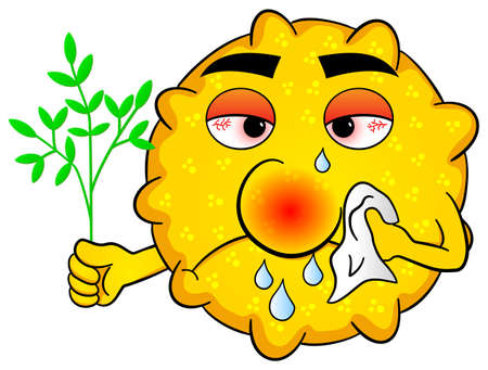runny: illustration of a pollen with hay fever