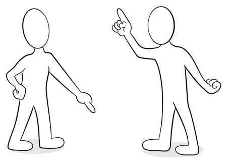 illustration of two people are of different opinion